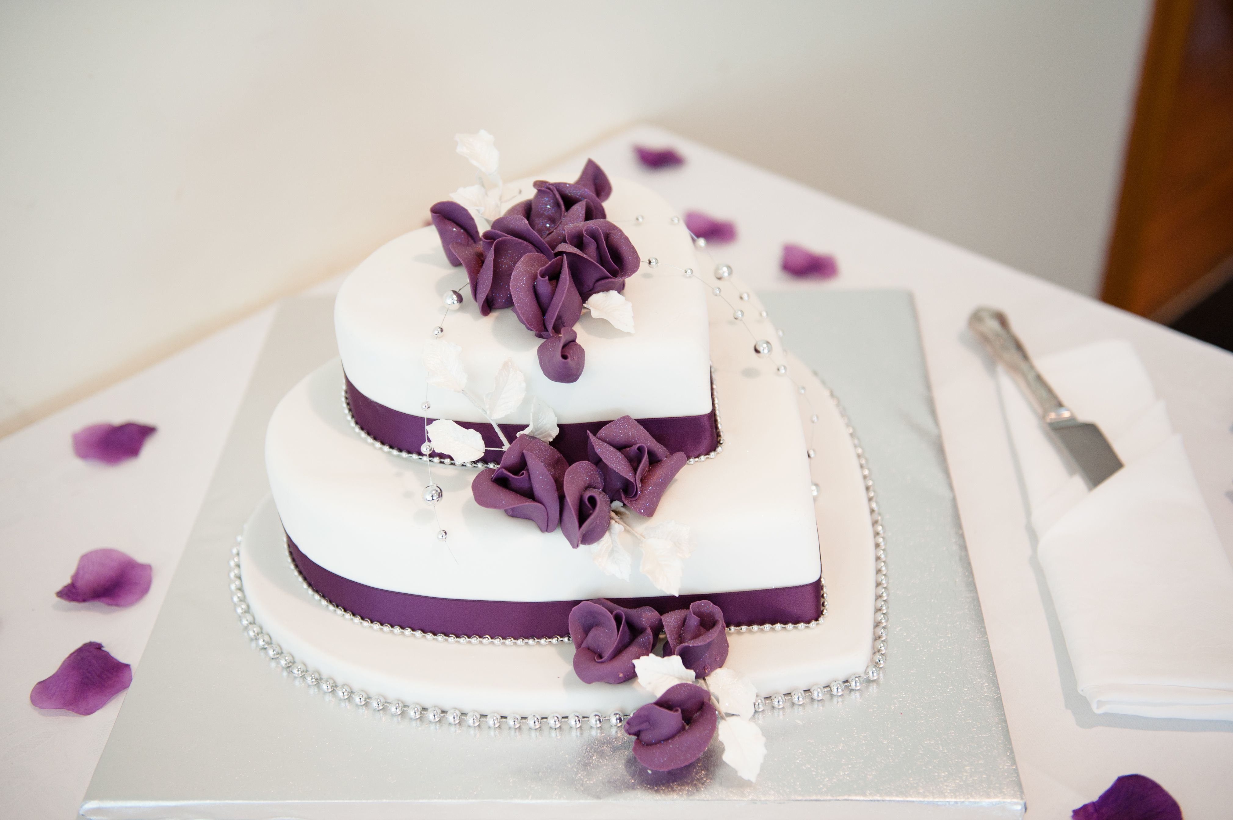Purple Wedding Cakes With Hearts