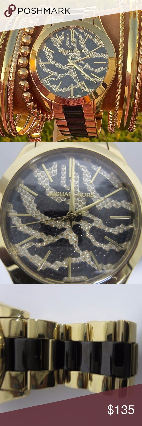 3e81f5d2155a MICHAEL KORS Zebra Crystal Pave Dial Runway Watch Brand new with gift box  MK s Runway Zebra