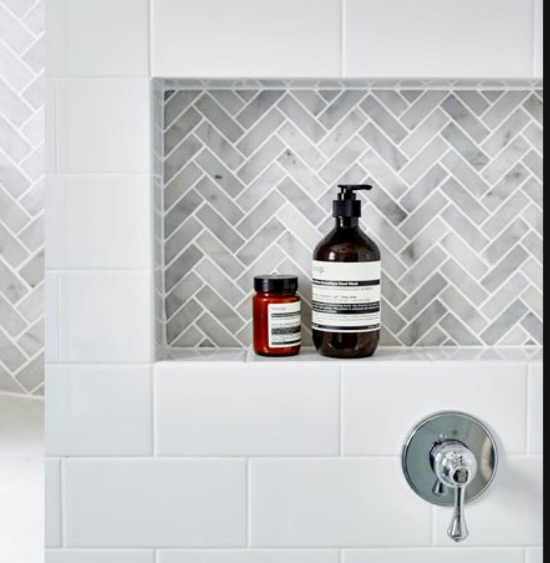 Herringbone Mosaic For The Bathroom Recesses With Images Tile