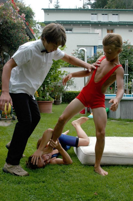 Hot mother mixed wrestling son in a nude battle