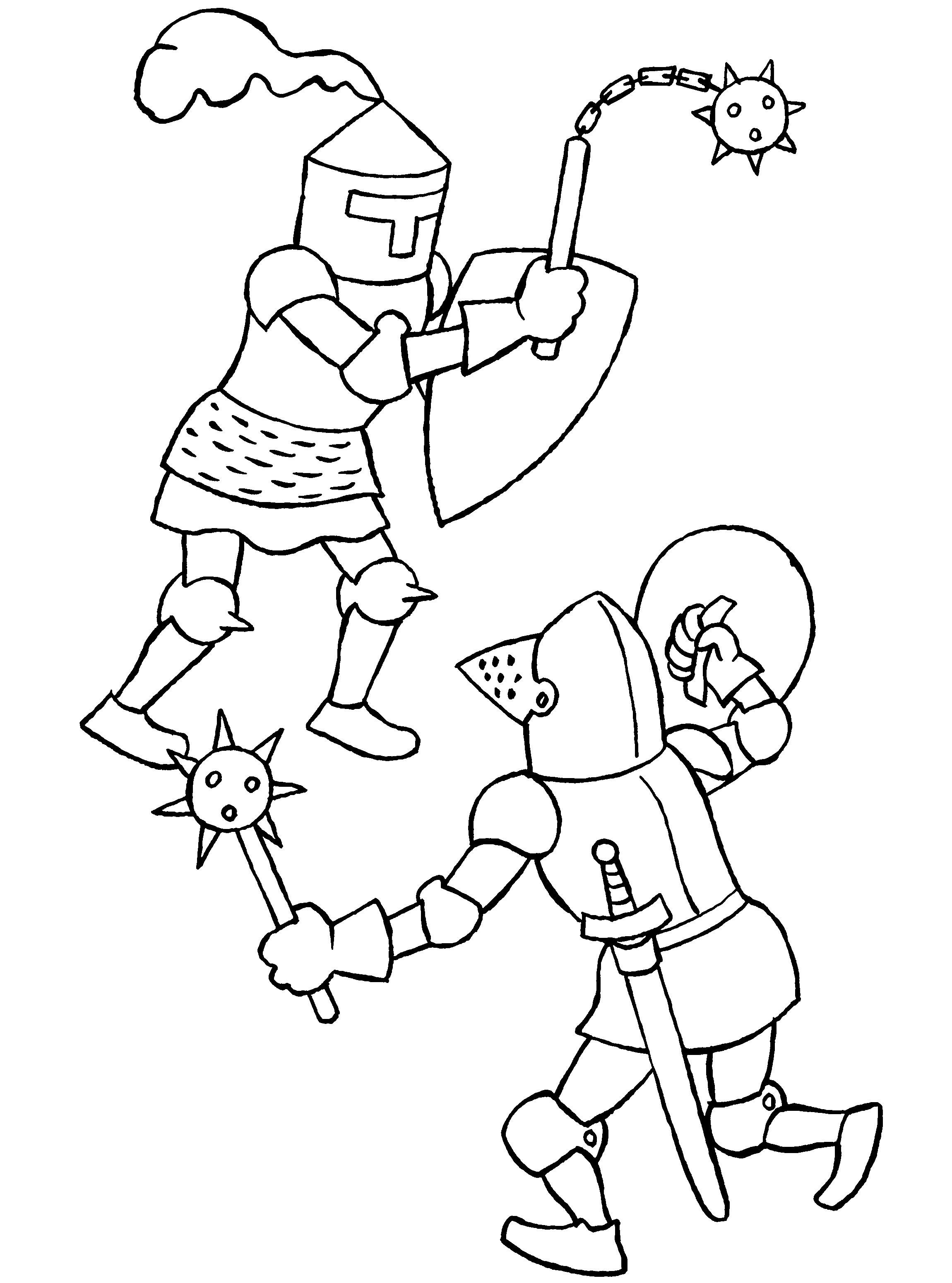 Gratis Kleurplaten Middeleeuwen.Twee Vechtende Ridders Ridders Kasteel En Kleurplaten