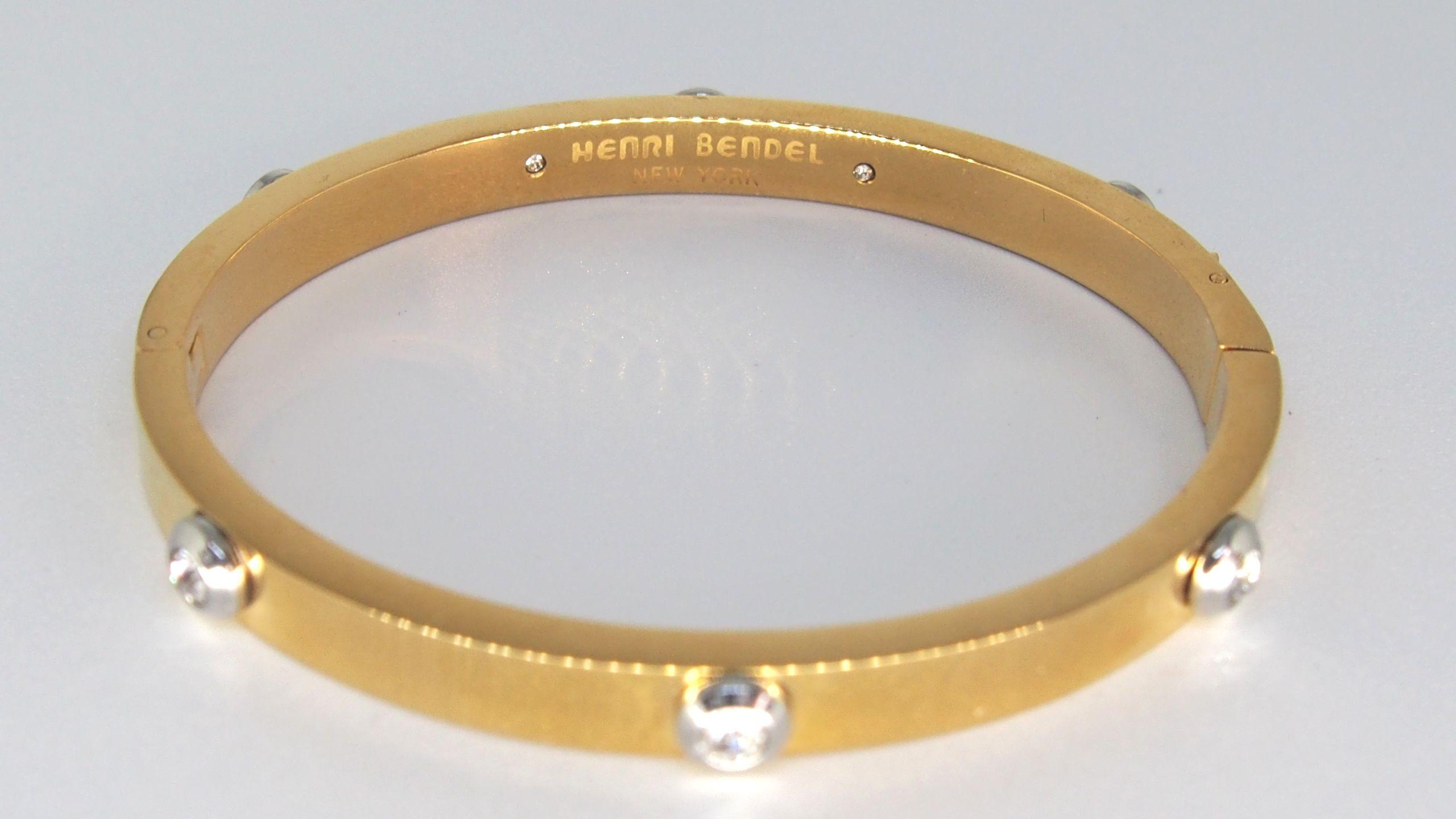 Details About Henri Bendel Miss Bendel Rivet Bangle Bracelet Gold