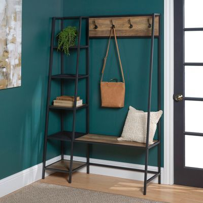 Urban Industrial Rustic Oak Hall Tree with Shelves images