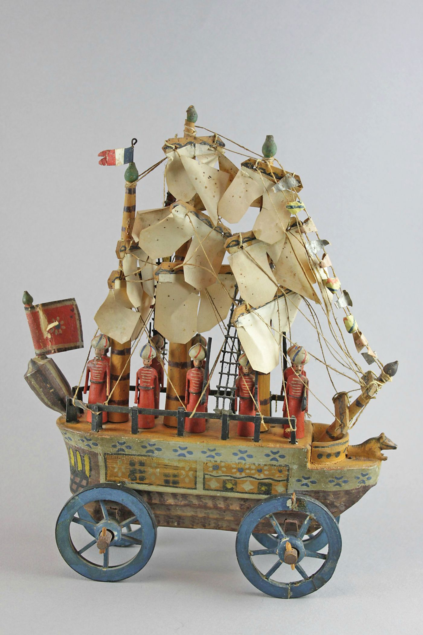 Toy Pram Plastic Antique German Sailing Ship On Wheels Pull Toy