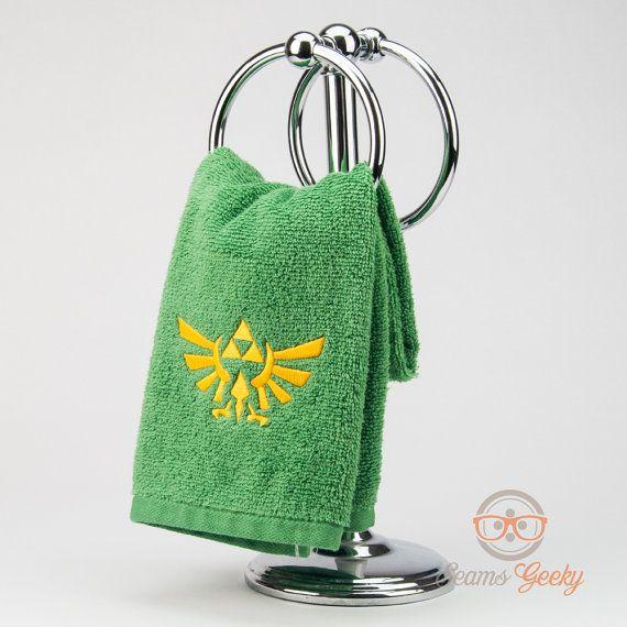Legend Of Zelda Hand Towel Triforce Embroidered Geeky Bathroom Towel Or Kitchen Decor Hand Towels Unique Items Products Towel Legend of zelda bathroom decor