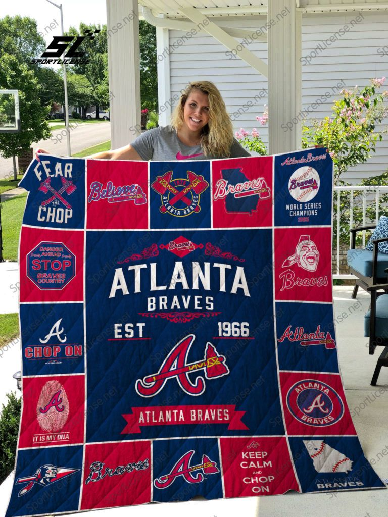 Mlb Atlanta Braves Quilt Blanket Atlanta Braves Gift Atlanta Braves Baseball Atlanta Braves