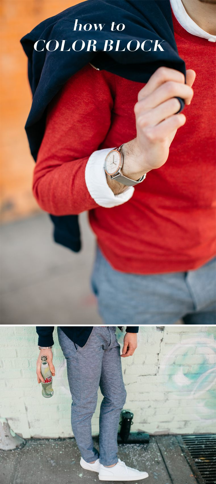 How to wear color block sweaters in collaboration with @dietcokeus