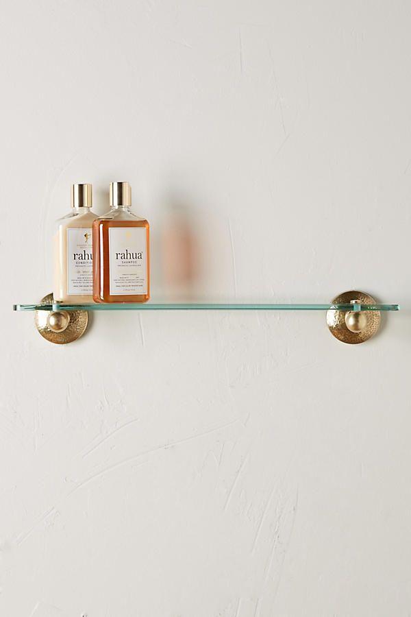 Slide View: 1: Hammered Brass Bath Shelf