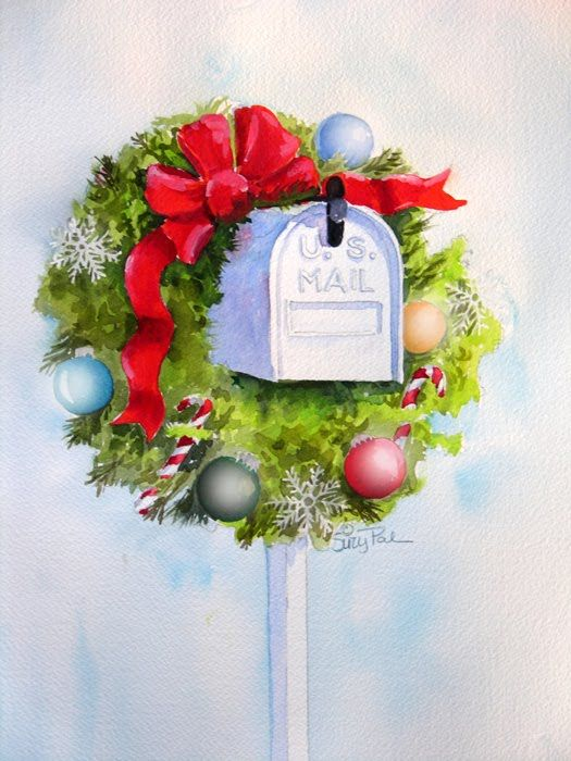 Suzy 39 pal 39 powell watercolors and collages christmas mail for Pinturas navidenas