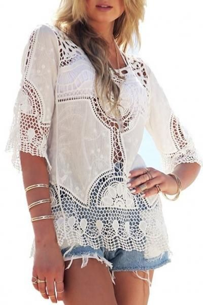 AdoreWe - oasap Stylish Hollow Out Embroidery Decoration Blouse - AdoreWe.com
