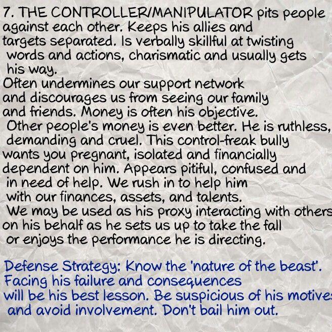 7   The controller manipulator      20 traits of a malignant