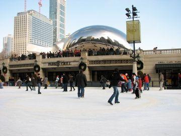 ice skating at the bean