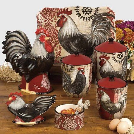 Rooster kitchen decorations decor - Kitchen rooster decor ...