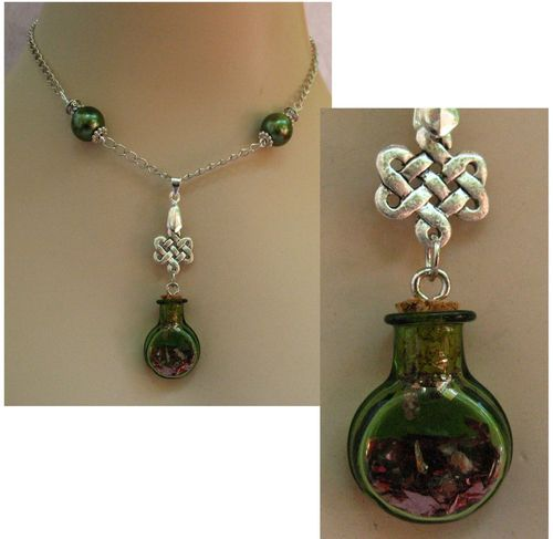 Silver Celtic Green Glass Vial Pendant Necklace
