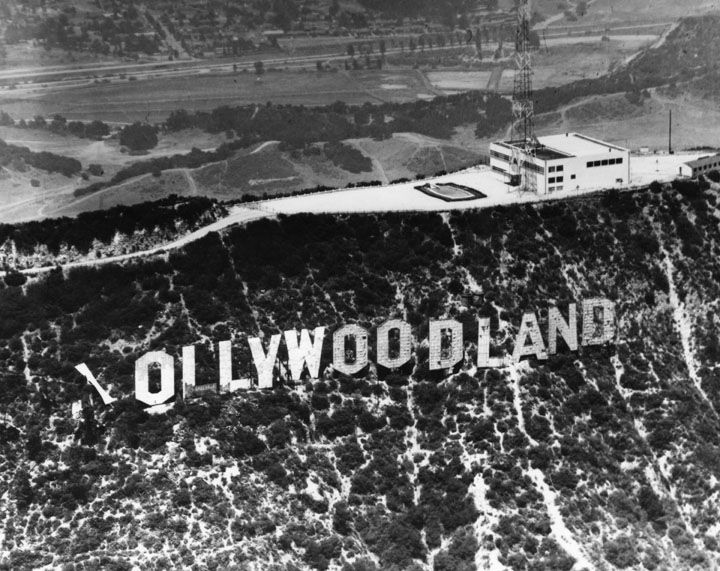 The Hollywoodland Sign With H Blown Down After A Storm In 1949 Hollywood SignVintage