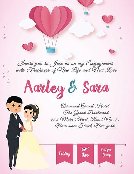 Free Elegant Engagement Invitation Card In 2019 Wedding