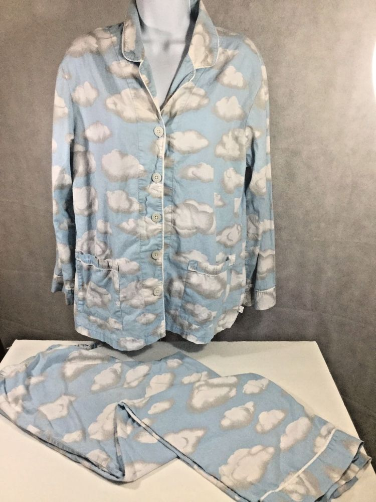 25fed71e Nick & Nora Clouds White and Sky Blue 100% Cotton Pajamas Size Large ...