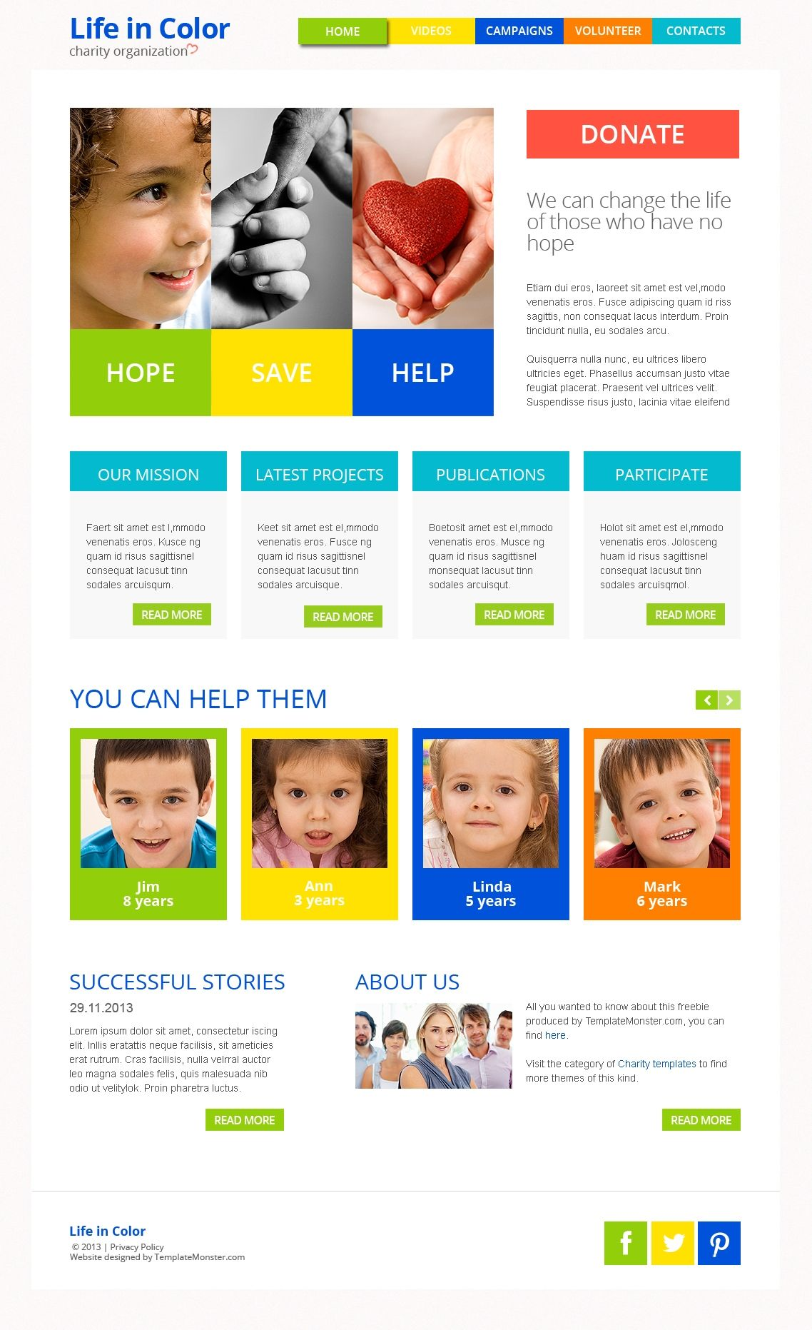 Free Responsive HTML5 Theme for Charity Site | Free HTML Website ...