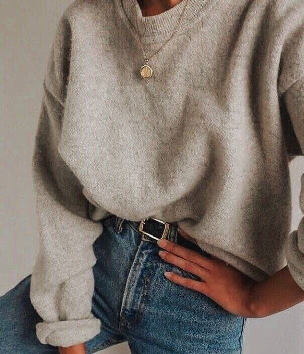 Jeans, belt, beige sweater, simple necklace, casual fall and winter outfit, scho…