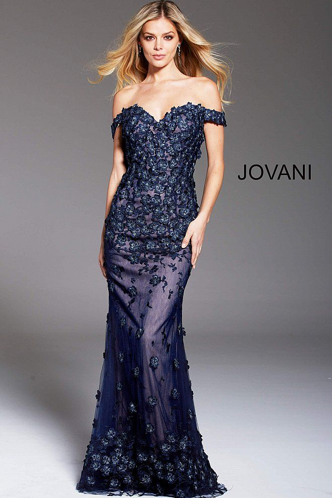 576b5a4224ebe2 Jovani 61357 silver off the shoulder lace evening mother of the ...