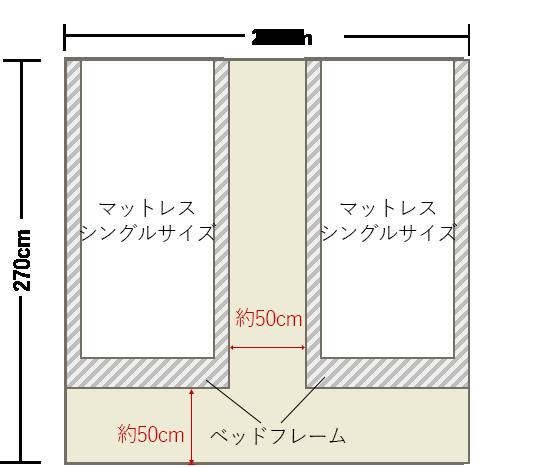 4畳半の寝室の壁にシングルベッドを2台 4畳 8畳 寝室