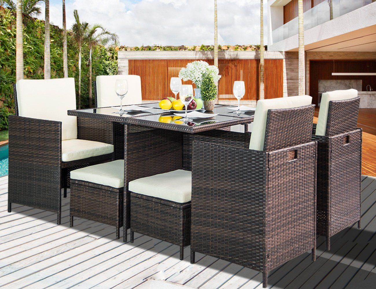This Outdoor Rattan Wicker Patio Dining Table Set Has Cushions For