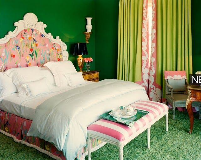 Green! Pink! White! colorful room.
