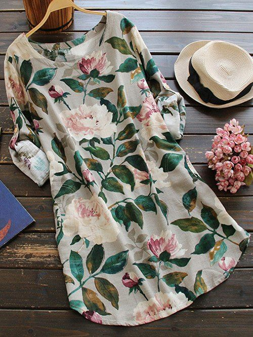 $21.99 Floral Long Sleeve Linen Blouse Dress - FLORAL ONE SIZE
