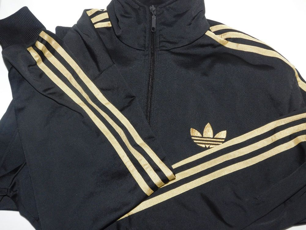 9130a5ee7d58 Adidas Original The 3 Stripes Track Black Gold Mens Track Jacket Sz M  Pre-own  adidas  TrackJacket
