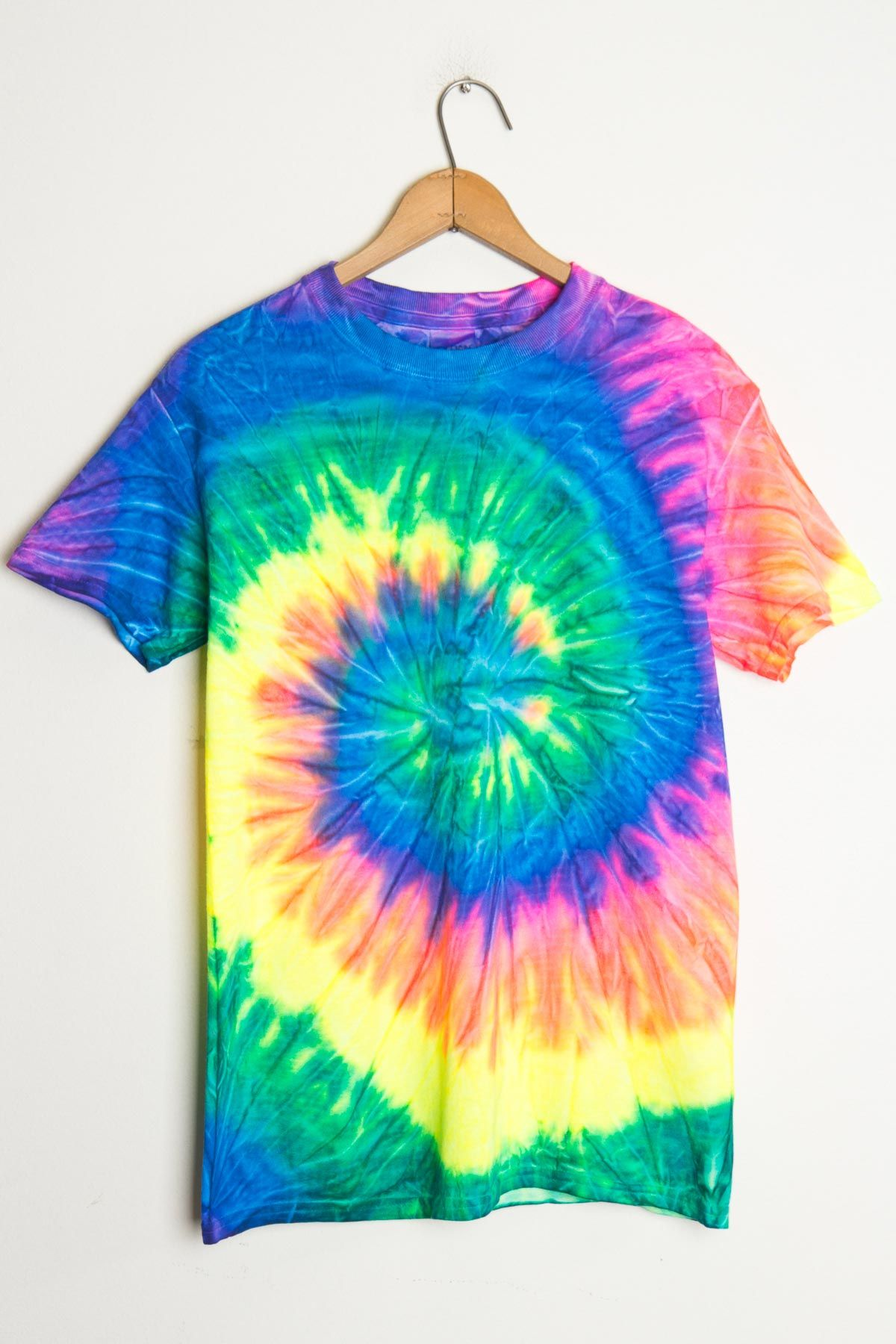 003e0f43eb22 This Neon rainbow tie dye shirt is to