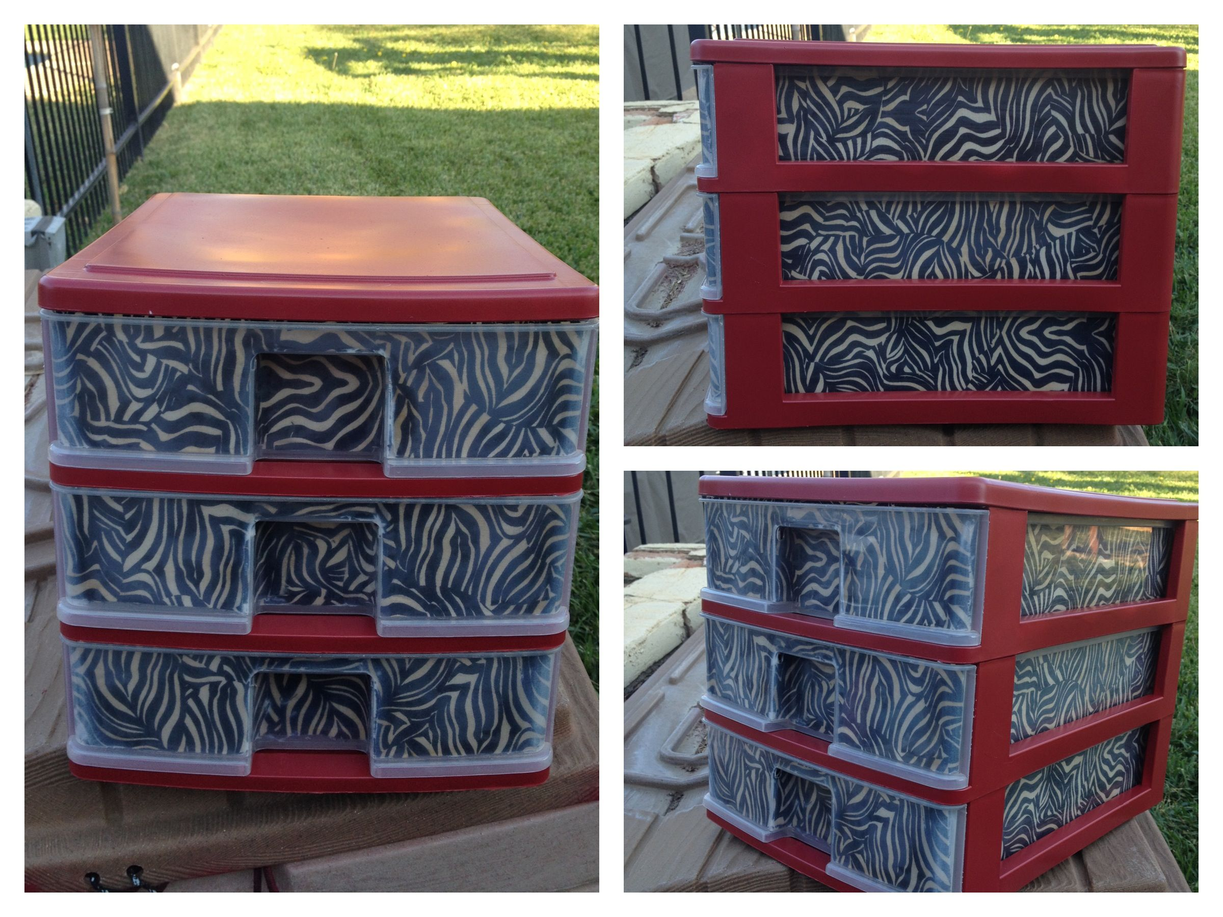 Plastic drawers that I decoupaged and painted. My wife