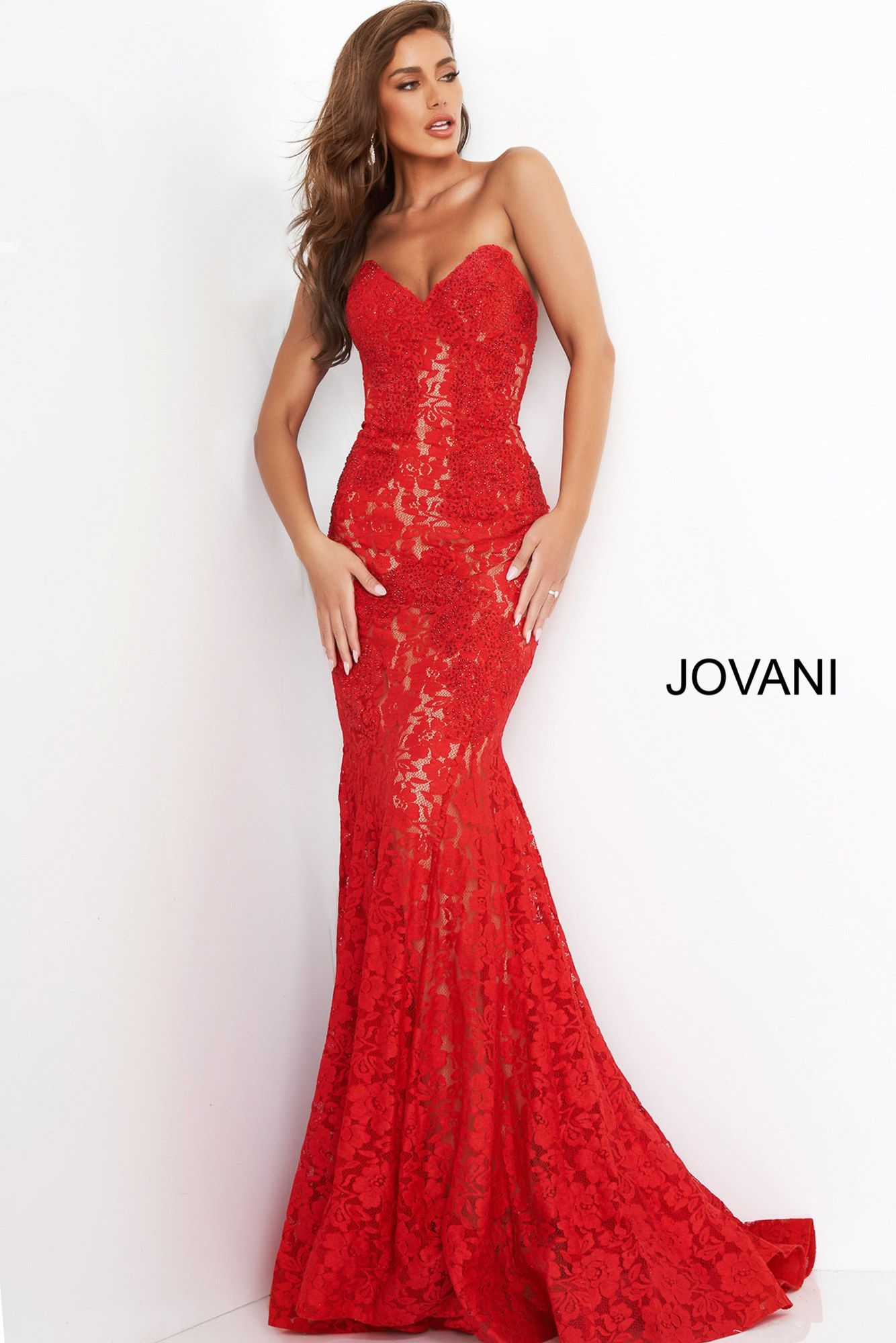 Jovani 37334 Emerald Fitted Strapless Lace Formal Dre Lace Formal Dress Beautiful Red Dresses Red Pageant Dress [ 2000 x 1334 Pixel ]