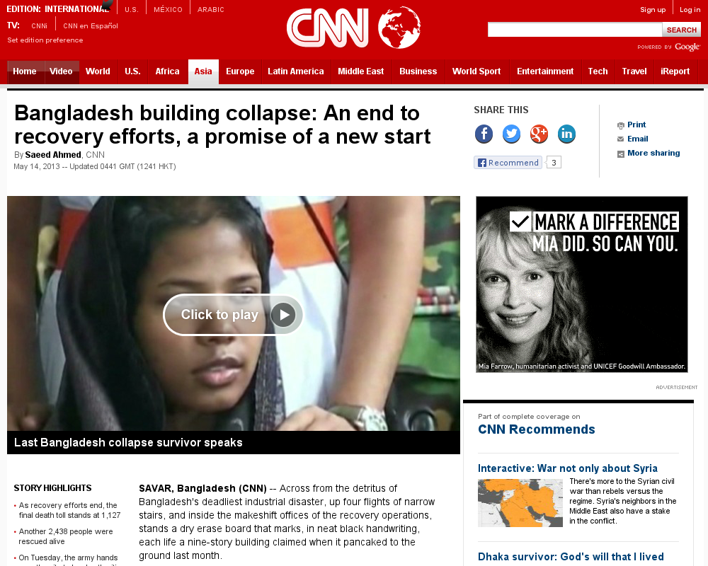 http://edition.cnn.com/2013/05/14/world/asia/bangladesh-building-collapse-aftermath/index.html?hpt=hp_t1 Recovery efforts end in Bangladesh | #Indiegogo #fundraising http://igg.me/at/tn5/