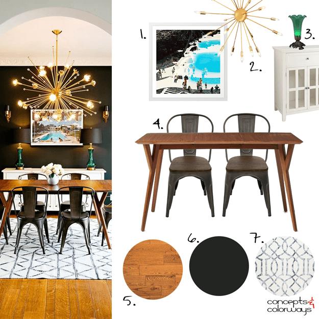Mid Century Modern Dining Room Mood Board, Industrial Style, Chic Interior,  Black