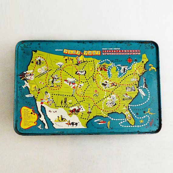 Vintage Game Board, Replogle Play Tray, Tin Litho TV Tray ...