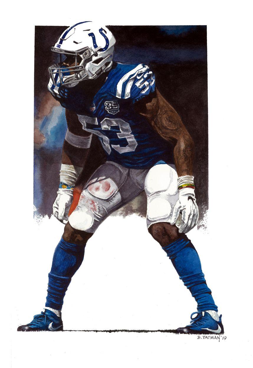"""Colts LB Darius Leonard 10"""" X 14"""" watercolor Sports art"""