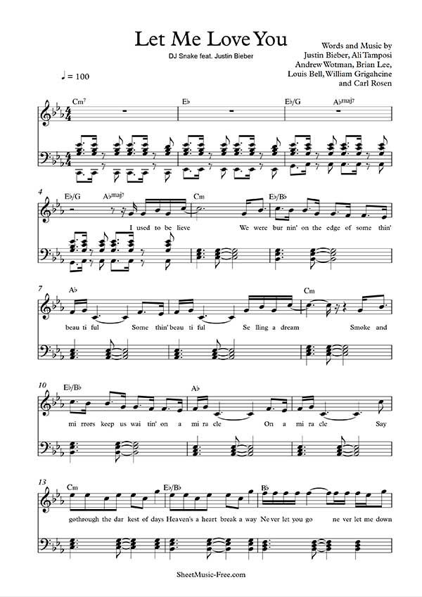 Let Me Love You Sheet Music Dj Snake Ft Justin Bieber Partituras