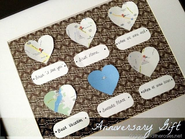 Diy Gift Idea For A Spouse Map Of Special Places Or For Mom