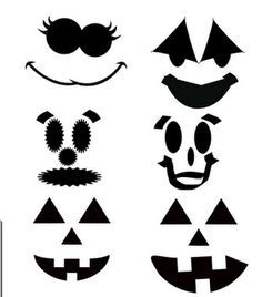 cute jack o lantern faces svg file for cutting silhouette