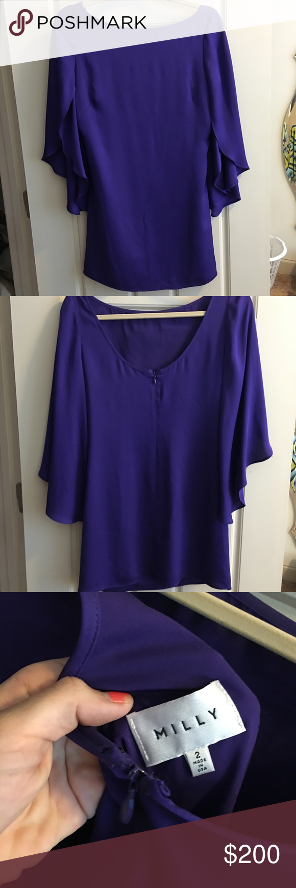 Milly Dress Purple silk mini dress with ruffle sleeves. Milly Dresses