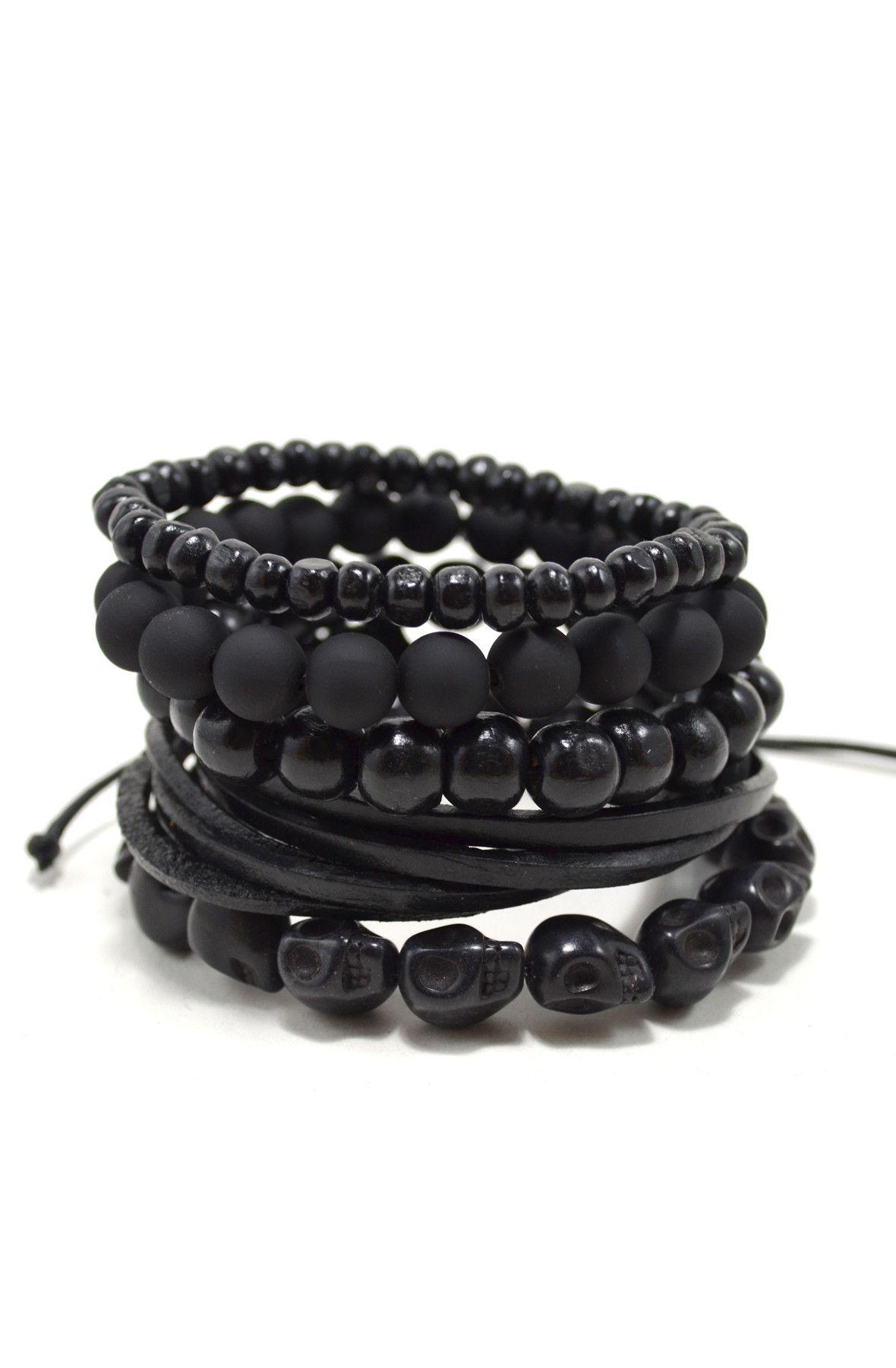 6dd1b4dcd1130 5 Pack Black Out Bracelet | Tag Twenty Two Bracelets | Mens fashion ...