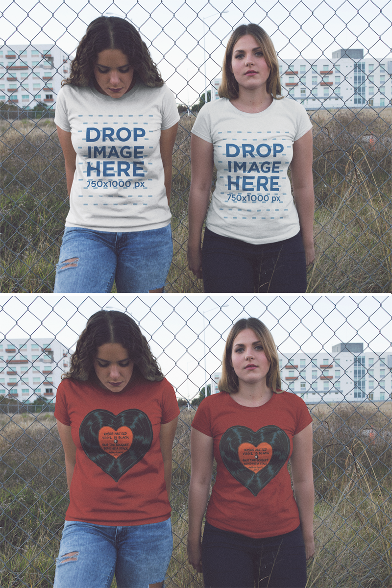Download Placeit Two Women Hanging Out Outside Of The City While Wearing Same T Shirts Mockup Clothing Mockup Shirt Mockup Hoodie Mockup