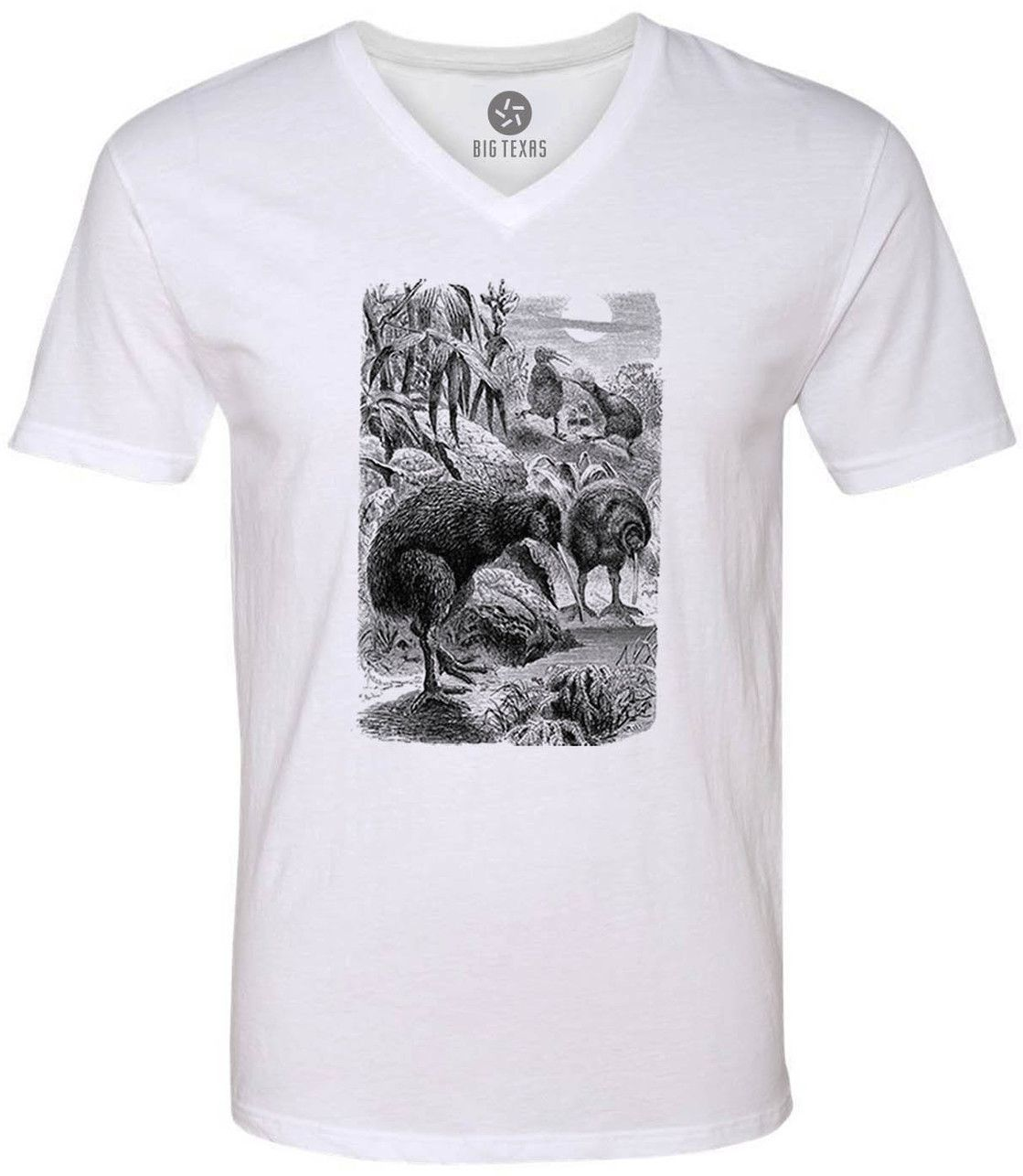 Wild Kiwi Illustration (Black) Short-Sleeve V-Neck T-Shirt