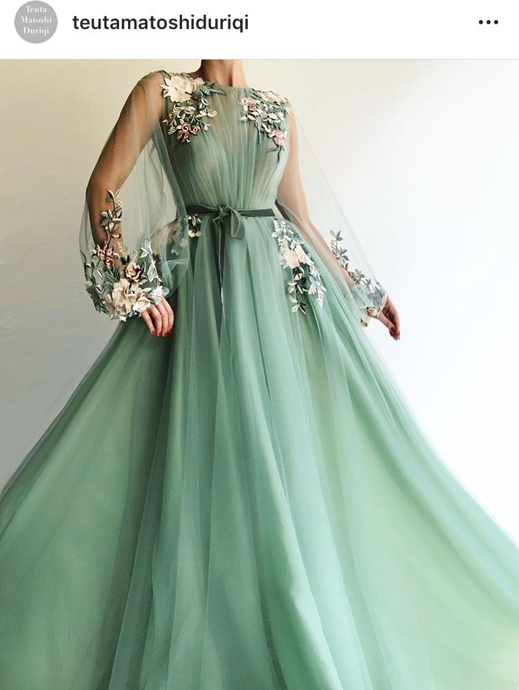 9371d41cab Details - Light green color - Tulle fabric - Handmade embroidery flowers -  Ball-gown dress with long sleeves - Party and evening dress
