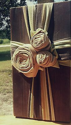 Handmade, OOAK Decorative Cross; Rustic/Country/Shabby-Chic, Chartreuse & Tan