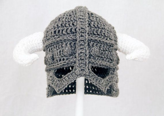 I need this for my next D session. Skyrim Hat / Helmet Crochet Grey ...