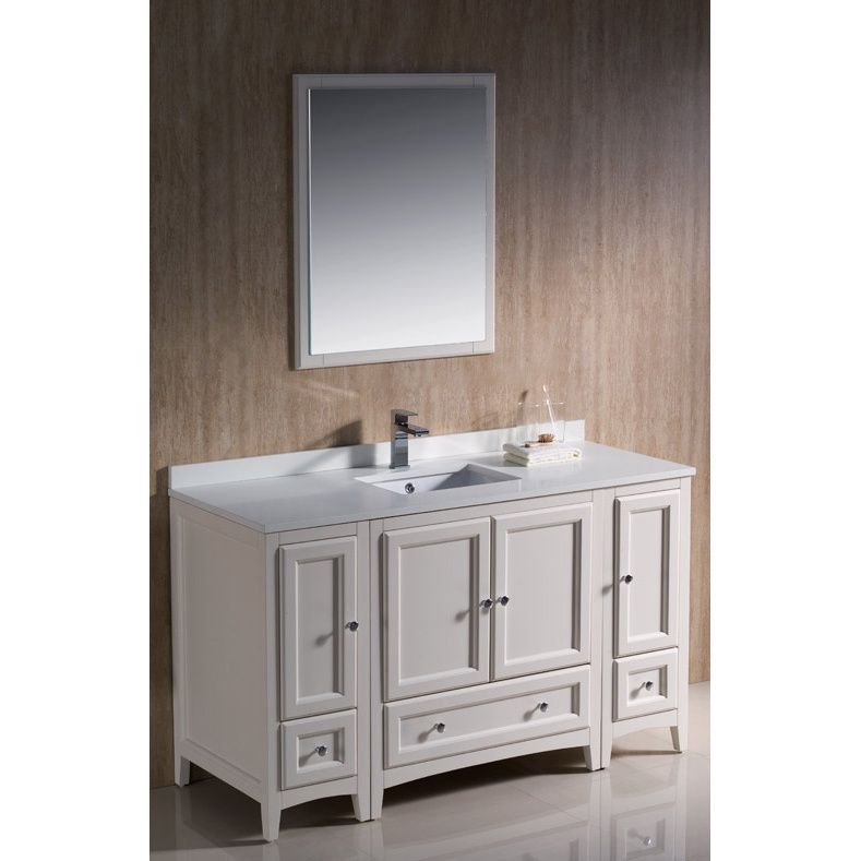 Fresca Oxford 54-inch Antique White Traditional Bathroom Vanity with ...