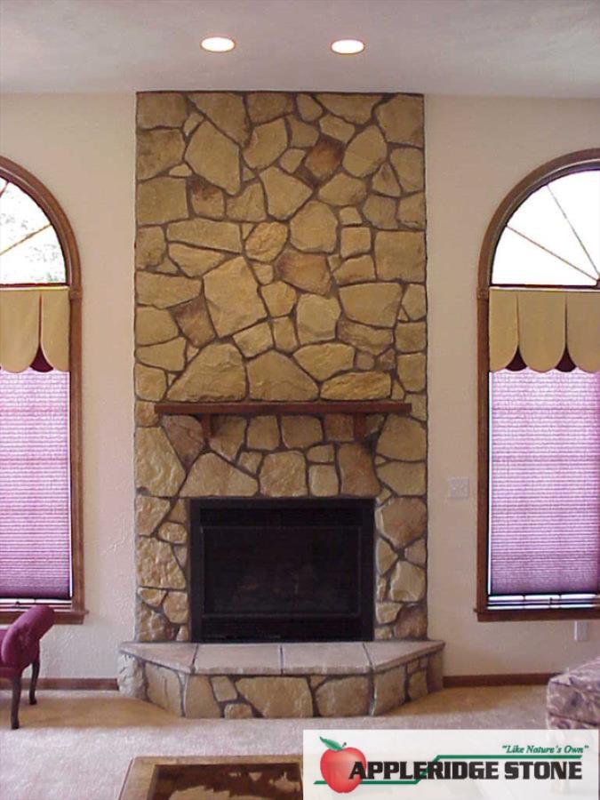 Stone Indoor Fireplaces appleridge stone - stone veneer: flagstone pattern, buff color