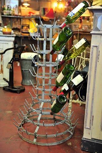 La Brocante Bottle Drying Rack Vintage French Wine Bottle Drying