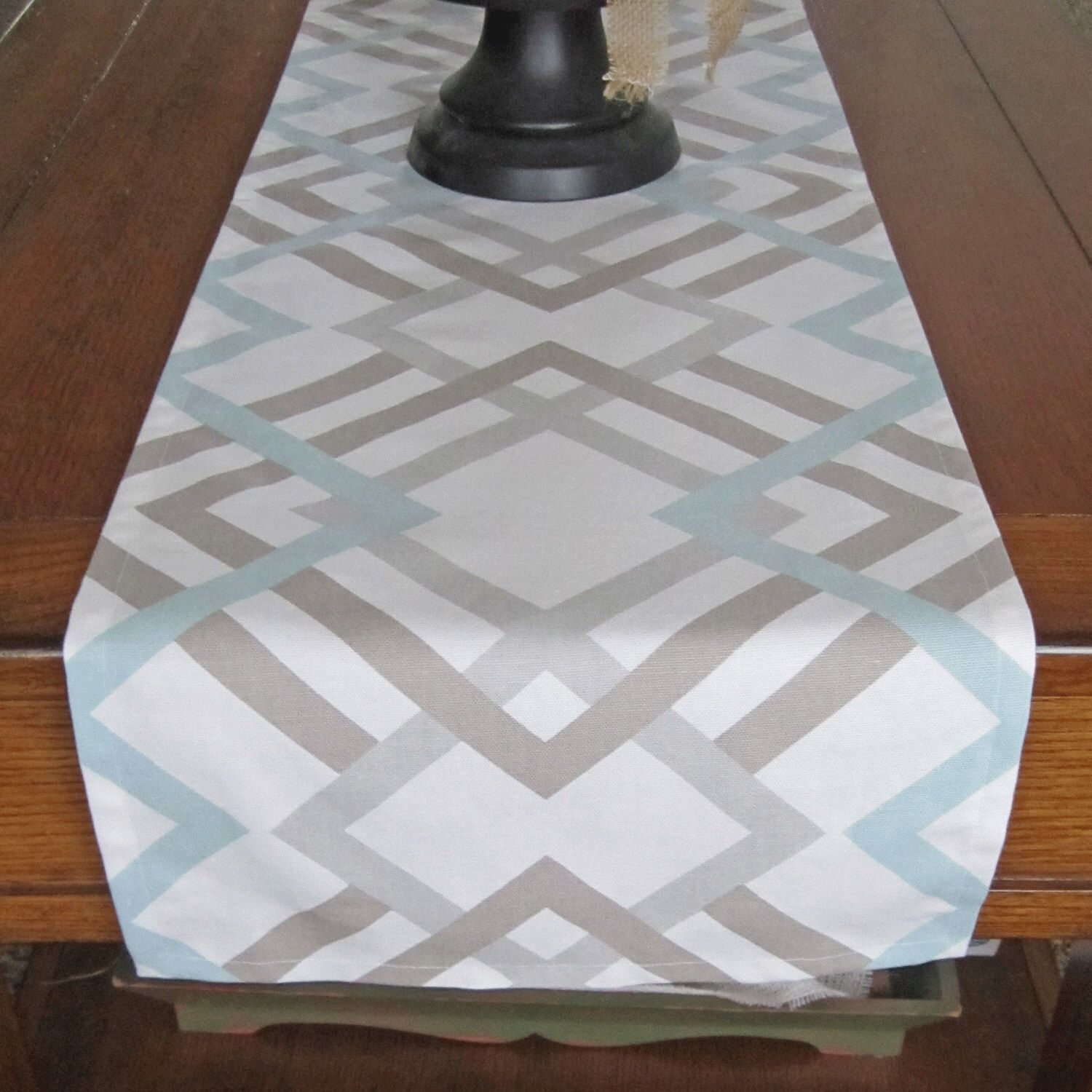 Table Runner Light Blue Taupe Gray Winter Wedding Geometric Home Decor By Newboldhome On Etsy